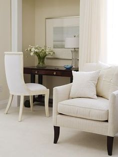 Beautiful upholstered white armchair #bedroom #chic #classic #elegant