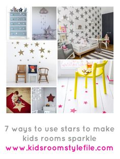 7 ideas for using stars to create a little sparkle in kids rooms and nurseries... hop over to the blog to find out more... http://kidsroomstylefile.com/2014/07/29/stars-make-baby-nurseries-and-kids-rooms-sparkle/