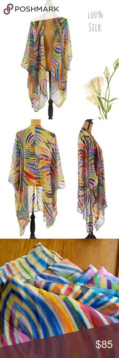 🆕Cocoon House 100% Silk Beach Cover-up Brand new without tags, 100% silk beach cover-up by Cocoon House. Beautiful colors, can be used as oversized scarf or shrug. One size fits all Cocoon House Swim Coverups