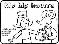hip hip hourra - télécharger gratuitement - coloriage - dessin - image à colorier