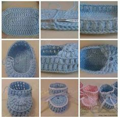 tammy smith's media content and analytics Crochet Booties Pattern, Crochet Skirt Pattern, Baby Shoes Pattern, Easy Crochet Stitches, Hand Crochet, Crochet Baby Booties, Crochet Slippers, Crochet Converse, Lace Booties