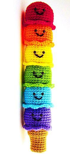 crocheted rainbow ice cream