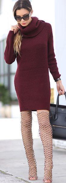 Jasmine Tosh Lately Burgundy Sweater Dress Fall Streetstyle Inspo. Tunic. women fashion outfit clothing stylish apparel @roressclothes closet ideas