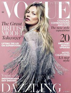 PHOTOS - Kate Moss en couverture de Vogue UK de mai 2014.