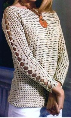 Crochet Shirt Free crochet pattern diagram for a long sleeved top. More Great Looks Like This - Free crochet pattern diagram for a long sleeved top. More Patterns Like This! Crochet Pullover Pattern, Gilet Crochet, Crochet Jacket, Crochet Cardigan, Knit Crochet, Crochet Tops, Crochet Sweaters, Crochet Lovey, Crochet Shirt