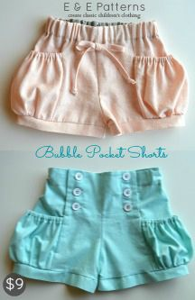 Bubble Pocket Shorts PDF Pattern (Elegance & Elephants), In Classic and Sailor Styles, Size 6 months to 8 years
