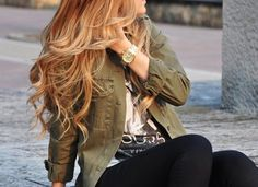 Her hair and outfit 😍 Fall into Line with Military Style Jackets Grey Balayage, Blonde Bayalage, Copper Balayage, Military Fashion, Military Style, Hair Dos, Fall Hair, Summer Hair, Gorgeous Hair