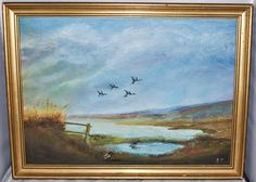 Painting on Board of Ducks Flying Over The Countryside, Signed Initials E Y