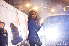 Hilary Rhoda trying to escape the rain @ the Victoria Secret 2012 fashion show taping #offduty
