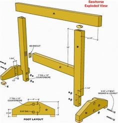 Use these sawhorse plans to learn how to build a sawhorse. These easy-to-make sawhorses can be very helpful with your woodworking projects and also won't take up much space in your workshop.
