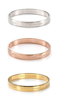'Best friend ever' bridesmaid bracelets from kate spade new york: Inscribed: 'birds of a feather, two of a kind, perfect pair, partners in crime, peas in a pod, sidekicks' @katespadeny #surprisesale