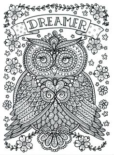Poster to Color Large Size 11x14 Owl Dreamer door ChubbyMermaid