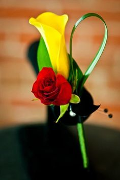 yellow calla lily, red rose, grass