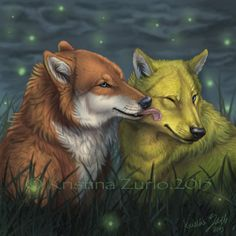 YCH Wolf Kiss and fireflys by NatsumeWolf on DeviantArt