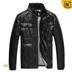 Men's Casual Sheepskin Leather Down Jackets Removable Mink Fur Collar CW832203 Black $558.89 - www.cwmalls.com