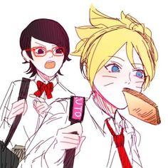 Sarada y Boruto Naruto Uzumaki, Boruto And Sarada, Naruto And Sasuke, Naruhina, Anime Naruto, Konoha High School, Manga, Boruto Next Generation, Fandom