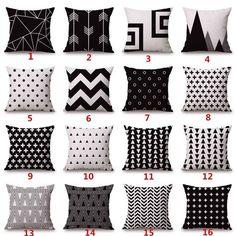 Black White Geometry Throw Pillowcase Cotton Linen Cushion Cover Sofa Home Decor in Home & Garden, Bedding, Sheets & Pillowcases White Pillows, Linen Pillows, Cushions On Sofa, Bed Sofa, Linen Sofa, Sofa Throw, Throw Cushions, Black And White Sofa, White Sofas