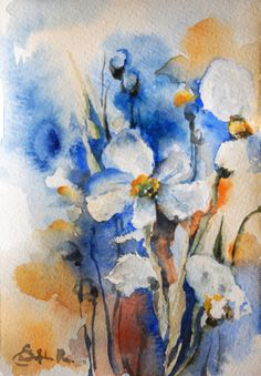 Abstract Floral Original Watercolor Painting, Abstract Flowers, Nature Wall Art,  Blue Orange