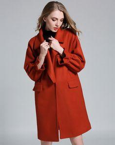 Orange Drop Shoulder Cowl Neck H Line Long Coat