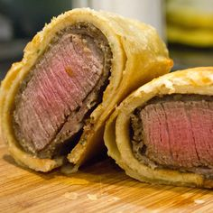 TV Dinners: Make the Infamous Beef Wellington From Hell's Kitchen: The most infamous dish from Gordon Ramsay's Hell's Kitchen has to be the beef Wellington, a traditional British dish consisting of a seared filet mignon smothered in a whole-grain mustard and wrapped in layers of salty prosciutto, an herbed crepe, duxelles (mushrooms that have been pulverized into a paste), and puff pastry.