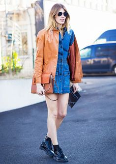 '70s vibe // denim dress, camel with unexpeted doc martins@WhoWhatWear