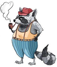 raton laveur illustration racoon funny animal