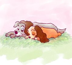 """Lady and the Tramp.  The first overtly """"adult"""" scene in a Disney movie happens when the dogs spend the night in the park, on Lover's Lane.  This is a """"safe"""" version of the scene, showing a sunny day for two dozing dogs."""