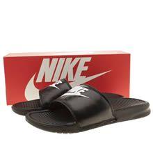 womens nike black & white benassi pool slide sandals
