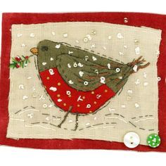 Sharon Blackman red bellied bird in the snow.love the sequins Freehand Machine Embroidery, Free Motion Embroidery, Embroidery Applique, Applique Quilts, Fabric Cards, Fabric Postcards, Christmas Sewing, Christmas Crafts, Xmas