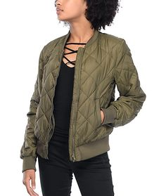 Bring a jacket with you wherever you go. The olive quilted bomber jacket is totally compact and comes with a nylon bag for on-the-go transportation. The insulated quilted bomber jacket is lightweight and features a ribbed collar, sleeve cuffs, and bottom hem that pair well with any outfit for quick weather protection.