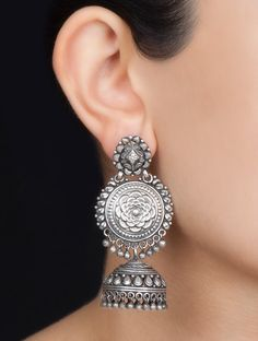 Buy Silver Floral Jhumkis Jewelry Earrings Colaba Tales Etched with Hand Painted Idol Motifs Online at Jaypore.com