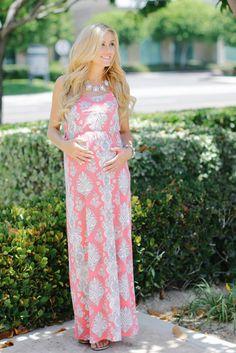 Pink White Paisley Printed Maternity Maxi Dress from PinkBlush Maternity www.pinkblushmaternity.com #maternity #fashion
