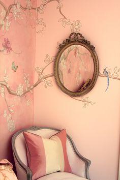 I like the princess/ fairy tale feeling to the wall and mirror