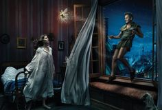 Gisele Bundchen, Tina Fey, and Mikhail Baryshnikov as Wendy, Tinkerbell, and Peter Pan
