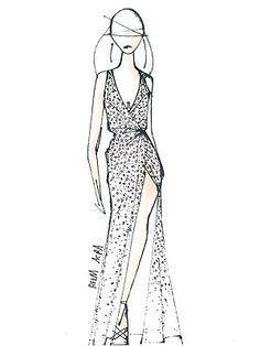 LeAnn Rimes's wedding dress sketch.  Courtesy Reem Acra