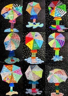 immagin @ rti: textures on umbrella - Kuvataide - Funny Spring Art Projects, School Art Projects, Art School, Club D'art, Classe D'art, Umbrella Art, Umbrella Crafts, 3rd Grade Art, Kindergarten Art