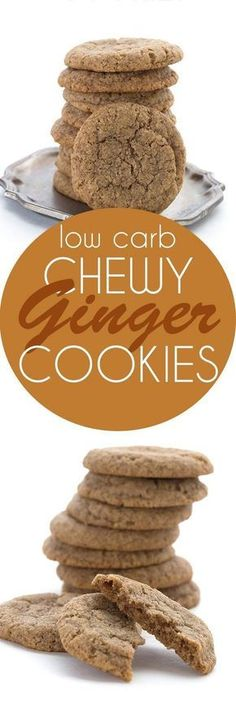 """You won't believe the incredible texture! via Low Carb Chewy Ginger """"Molasses"""" Cookies. You won't believe the incredible texture! via All Day I Dream About Food Keto Foods, Keto Snacks, Keto Desserts, Galletas Keto, Galletas Cookies, Low Carb Deserts, Low Carb Sweets, Chewy Ginger Cookies, Molasses Cookies"""