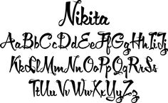 Nikita font - a very lively upright script with lots of 1950s flair. Perfect for your next pinup calendar project!
