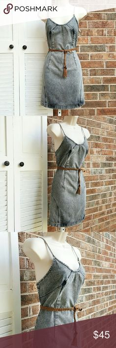 SISLEY | Vintage Denim Dress Beautiful, grey wash denim, fitted jean dress. Dress has elongated back straps w/ a low cut back style & has a back zipper closure. (Denim has a natural ctafted distressed fadinh & over-darkening through out the dress that was intemtiomally designed to look this way.) Very well kept & rarely worn! Definitely a vintage collector's piece!  Made by: SISLEY Size: Small  Material: 100% Cotton   ** Excellent pre-owned condition! ** Sisley Dresses