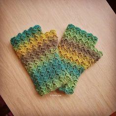 Gorgeous greens! 😊 Crochet Fingerless Gloves designed and handmade by © Elvira Jane