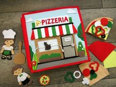 How to Make a Pizzeria Quiet Book Felt Pizza, Tissue Paper Crafts, Felt Crafts, Diy Quiet Books, Holiday Crafts For Kids, Cake Decorating Tutorials, Book Making, Balloons, Crafty