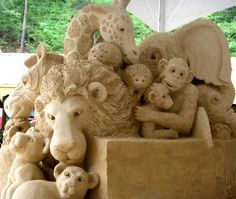 Sand sculpture of boxcar animals! #Sandcastle