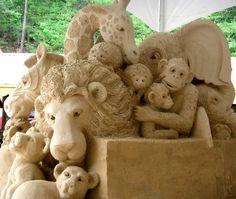 Sand sculpture of boxcar animals! #Sandcastle