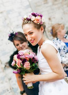 Sophia Webster's matching jewel-toned flower crown and bouquet | Brides.com