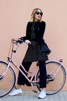 What better time to try a dress over pants? Shop this look. White Sneakers Outfit, All Black Outfit, Dress Over Pants, Pink Bike, Cycle Chic, Bicycle Girl, Outfit Posts, Fashion Pants, Spring Outfits