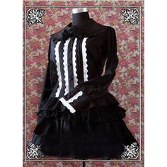 Cheap Long Sleeves Bowknot Multi-Layer Cotton Black Gothic Lolita Dress on Sale [TQL120504068] - £48.59 :