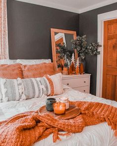 Fall Bedroom, Home Decor Bedroom, Bedroom Furniture, Bedroom Ideas, Furniture Ideas, Gray Bedroom, Furniture Outlet, Bedroom Designs, Coral Bedroom Decor