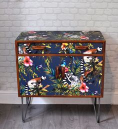 Upcycled Vintage Mid Century G Plan Cabinet with Retro Industrial Hairpin Legs and Navy Lemur Decoupage by ThriftysRetro on Etsy