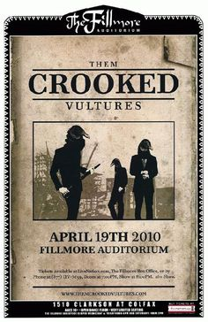 Concert poster for Them Crooked Vultures at The Fillmore Auditorium in Denver, CO in 2010. 11 x 17 inches on card stock.