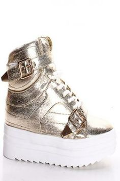 GOLD FOIL LACE UP BUCKLE HI TOP SNEAKERS